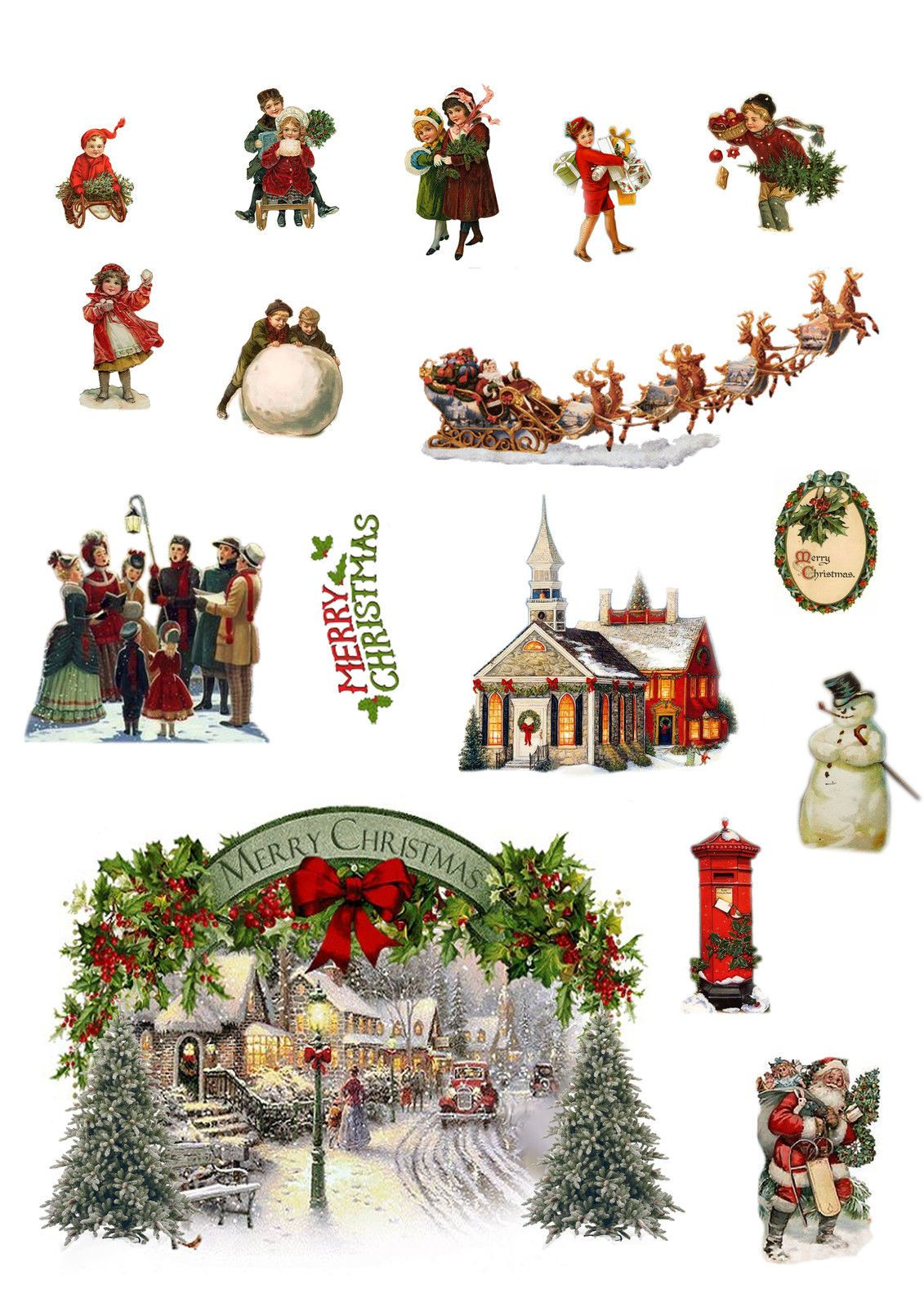 Vintage Traditional Christmas Edible Wafer Card Cake Topper Scene